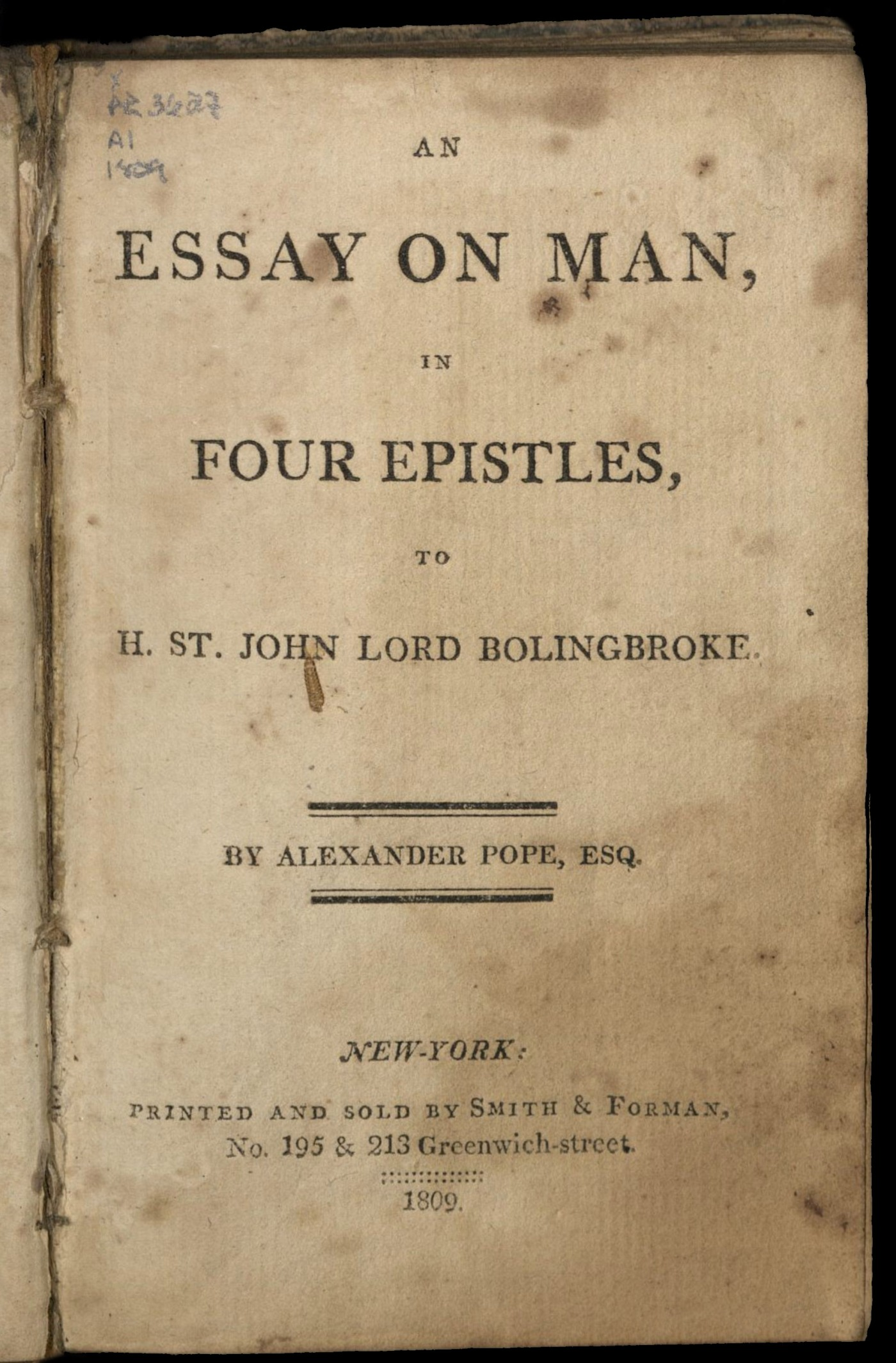 pope an essay on man epistle i Essay on man and other poems has 686 ratings and 23 alexander pope's essay always leave me with some type of hope for my an essay on man (epistle i) 2/12/07.